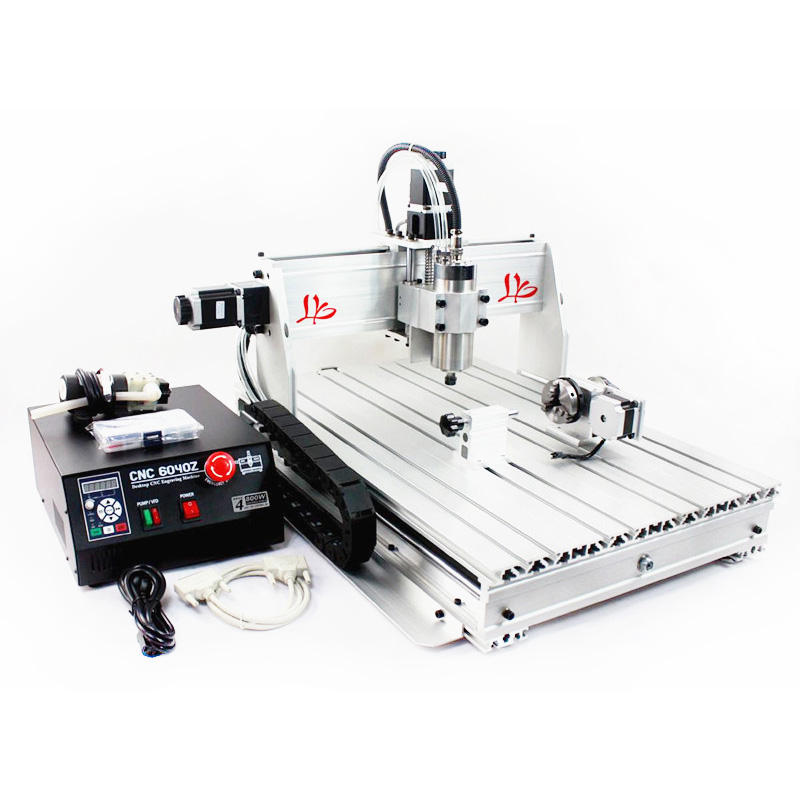 4 Axis CNC 6040 Z-S80 engraver router milling lathe machine with rotary axis and 1.5KW spindle, four axis cnc6040 for 3d cnc 4 axis cnc machine cnc 3040f drilling and milling engraver machine wood router with square line rail and wireless handwheel