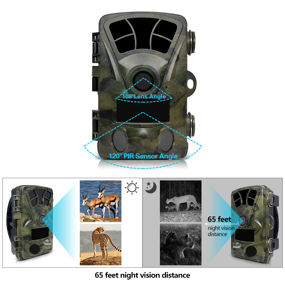 Hunting Trail Camera H885 HD 1080P Night Vision Scouting Camera Infrared Waterproof Wide Angle Wildlife Camera