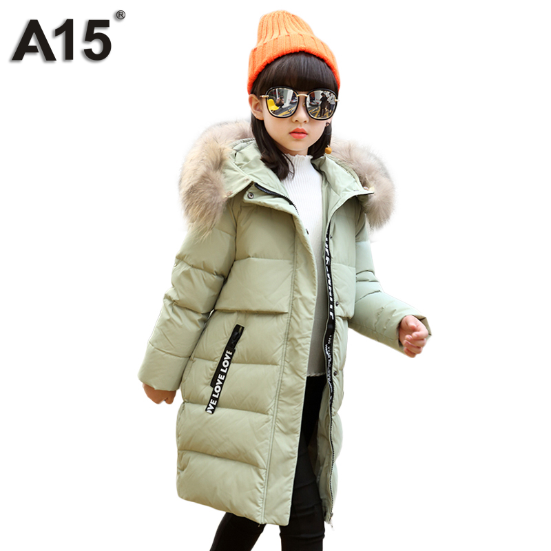 A15 Brand Down Jacket for Girl with Fur 2017 New Design for Cold Russion Winter Jackets Girls Hooded Long Thick Duck Down Coat 8 russia winter boys girls down jacket boy girl warm thick duck down