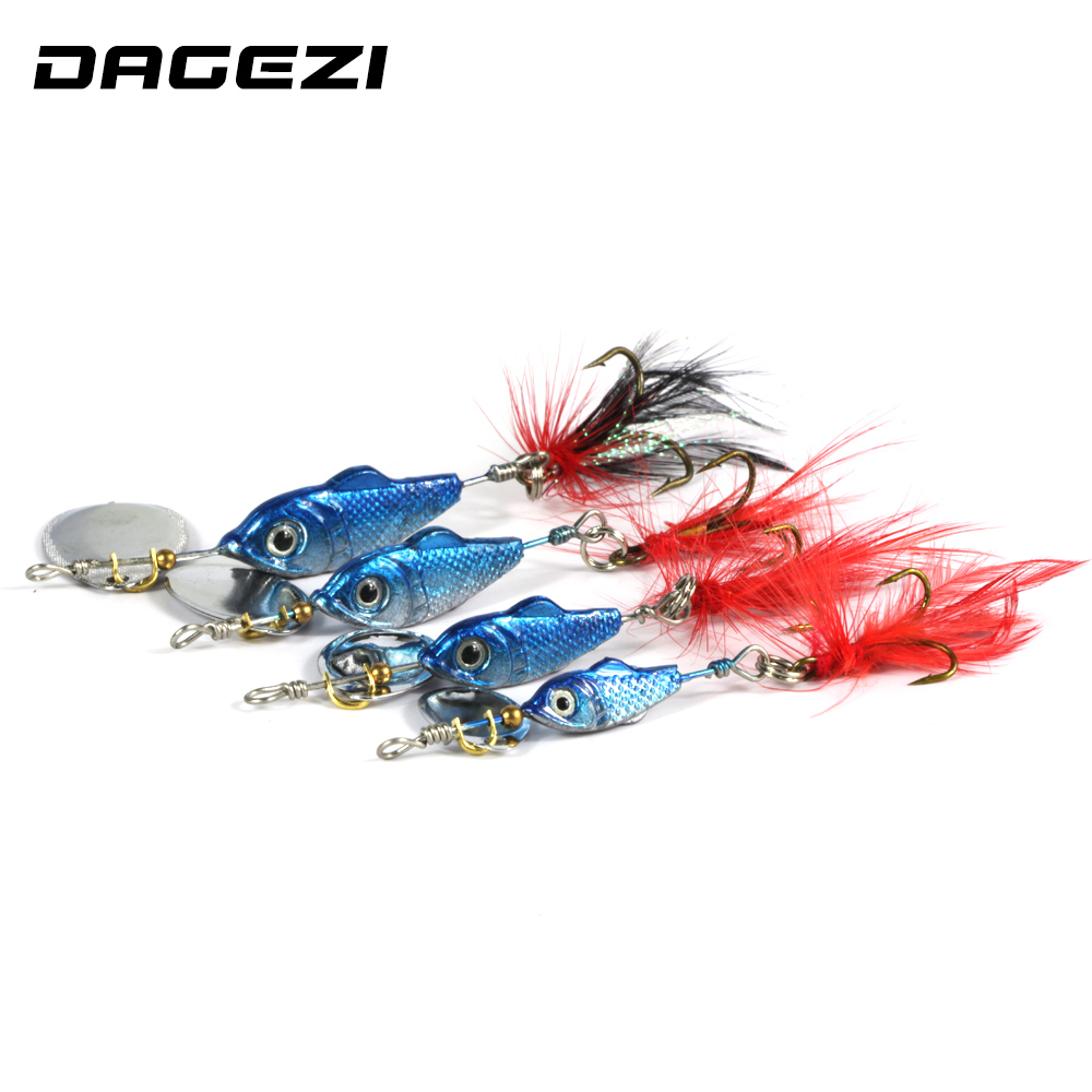 DAGEZI Blue Metal Sequins Fishing Lure Spoon Lure with Feather Noise Paillette Hard Baits with Treble Hook Pesca Fishing Tackle fddl metal spinner spoon fishing lure hard baits sequins paillette with treble hook fishing tackle tools