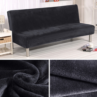 Lellen Plush Thick fabric Fold Armless Sofa Bed Cover Folding seat slipcover Thicker covers Bench Couch Protector Elastic Cover