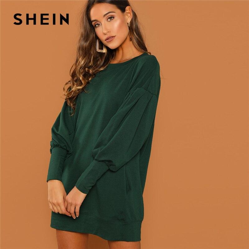 SHEIN Preppy décontracté goutte épaule solide sweat col rond manches évêque robe longue 2018 automne mode femmes robes