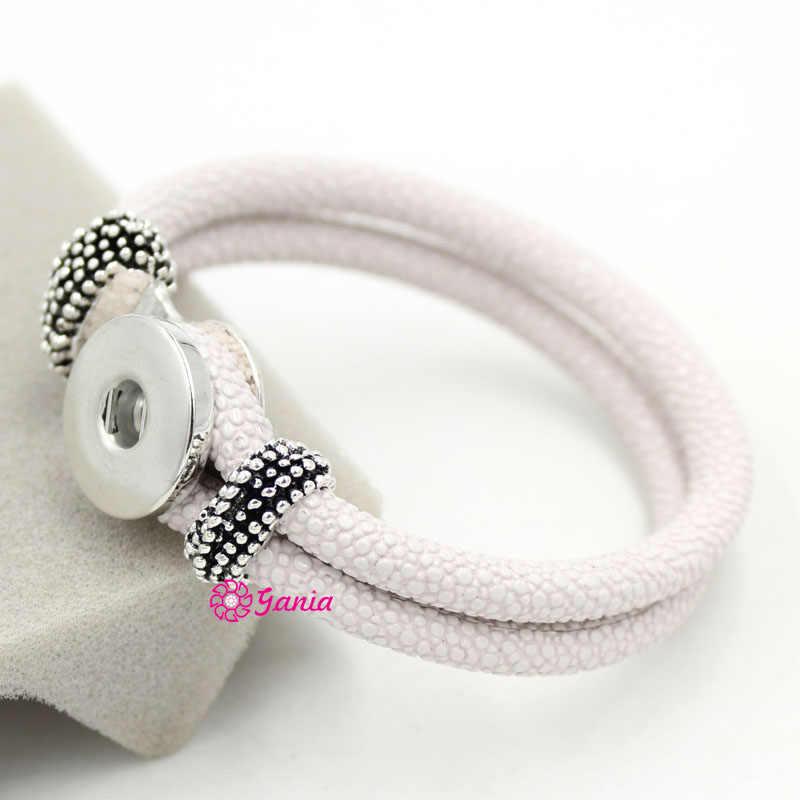1 pieza nueva llegada DIY joyería intercambiable blanco Stingray cuero 18mm Pulsera de botón