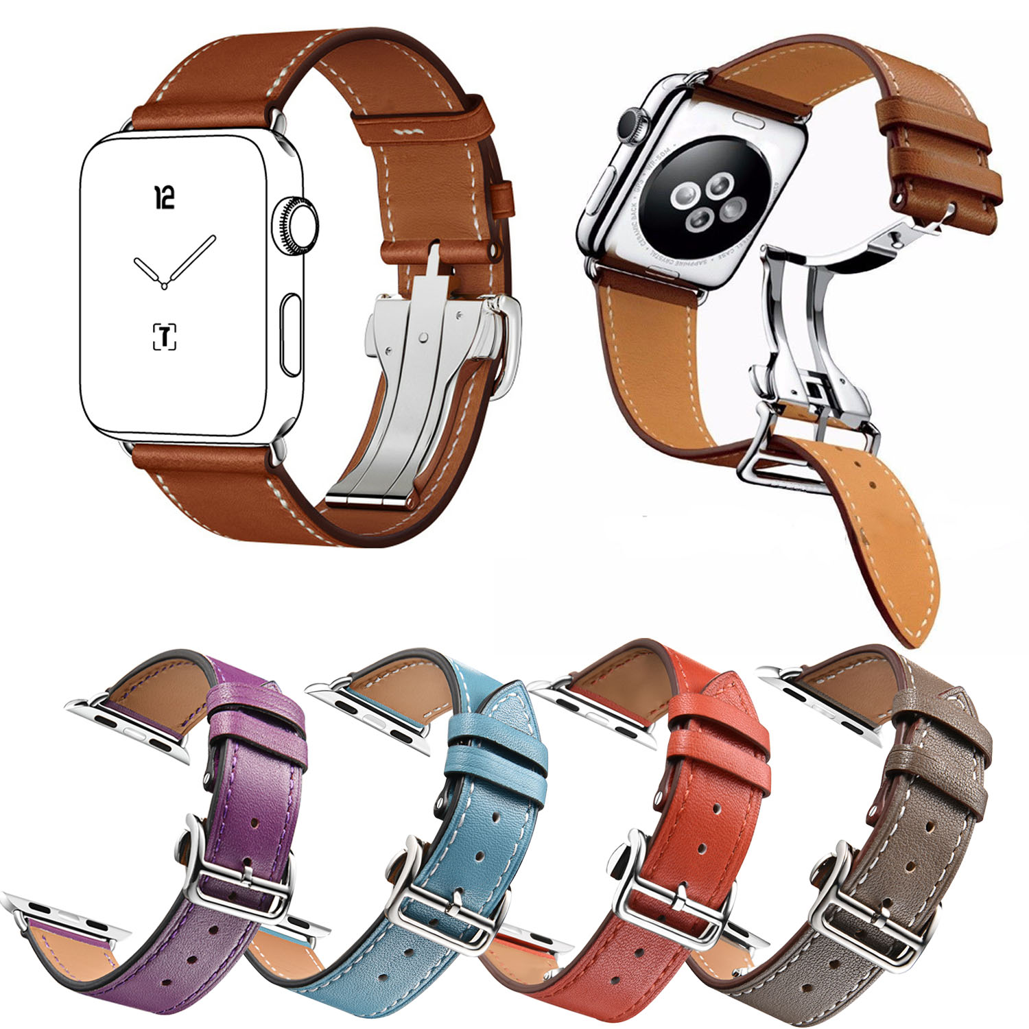 Single Tour Genuine Leather Strap for Apple Watch Band Series 3 2 1 Bracelet for iWatch Belt w Folding Deployment Clasp Buckle купить недорого в Москве