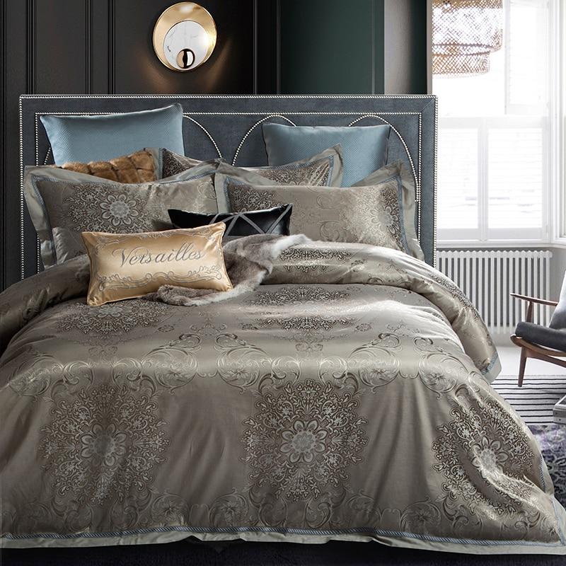 Us 8215 38 Off18 Color Satin Cotton Blue Silver Luxury Royal Bedding Set King Queen Size Silky Bed Set Duvet Cover Bedsheetlinen 40 In Bedding