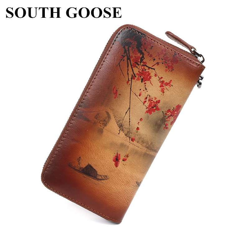 SOUTH GOOSE Women Wallets Genuine Leather High Quality Long Design Clutch Wallet Chinoiserie Style Retro Female Clutch Wrist Bag