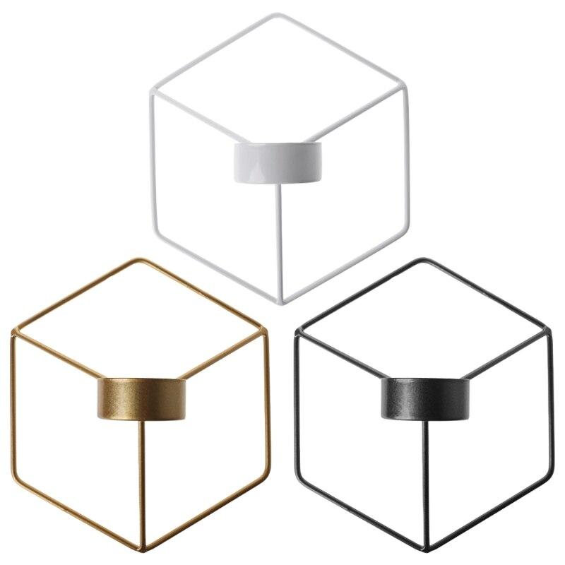 Candelabro geométrico 3D de estilo nórdico soporte de vela de pared de Metal decoración para el hogar Nuevo Finel superior cortinas opacas geométricas para dormitorio sala de estar sala de niños elegantes cortinas gruesas de ventana para bebé