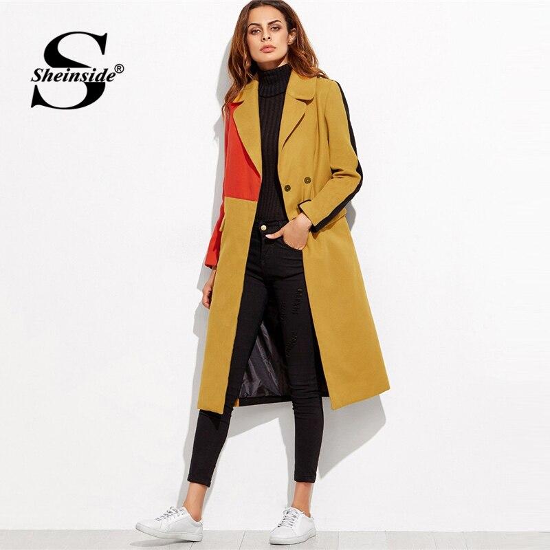Sheinside двубортное шерстяное пальто для женщин с длинным рукавом Цвет Блок верхняя одежда 2018 зимняя одежда элегантные женские длинные пальт