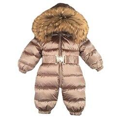 Baby Overalls Jungen Mädchen Winter Overalls Strampler Ente Unten Overall Natürliche Pelz Kragen Mäntel Kinder Oberbekleidung Kinder Schneeanzug