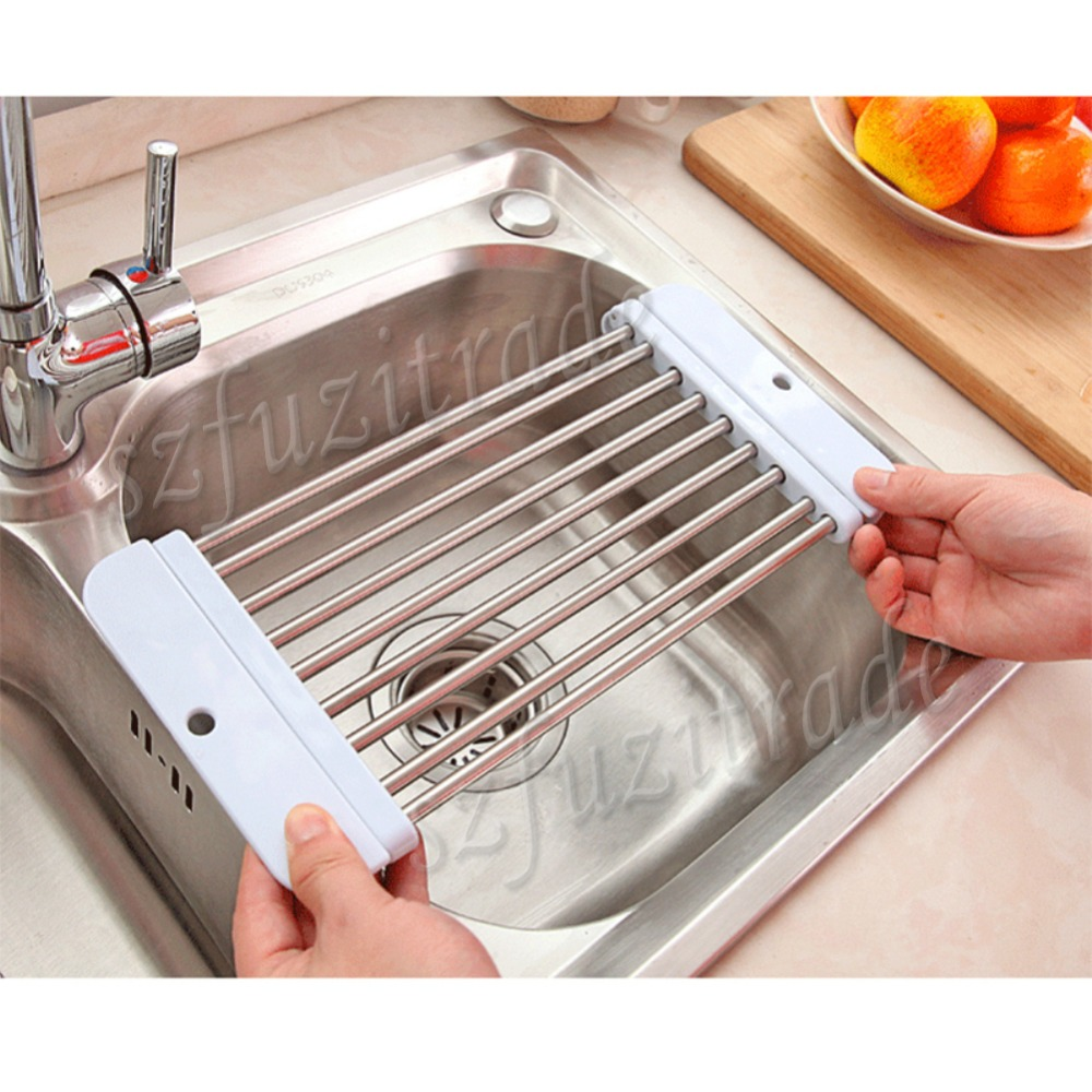 sink rack roll stainless steel silicon handy and portable folding