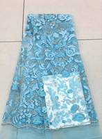 Sky Blue French Lace Fabric African New Style Stones Party Dress Lace Fabric French Tulle Net Lace Fabric 30