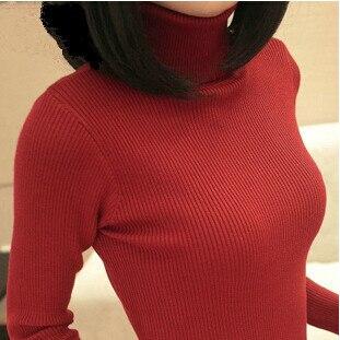 Doprava zdarma 2015 nové Dámské podzimní zimní tenký svetr svetrů dámské základní roláky svetrů ženské oblečení 8 barev