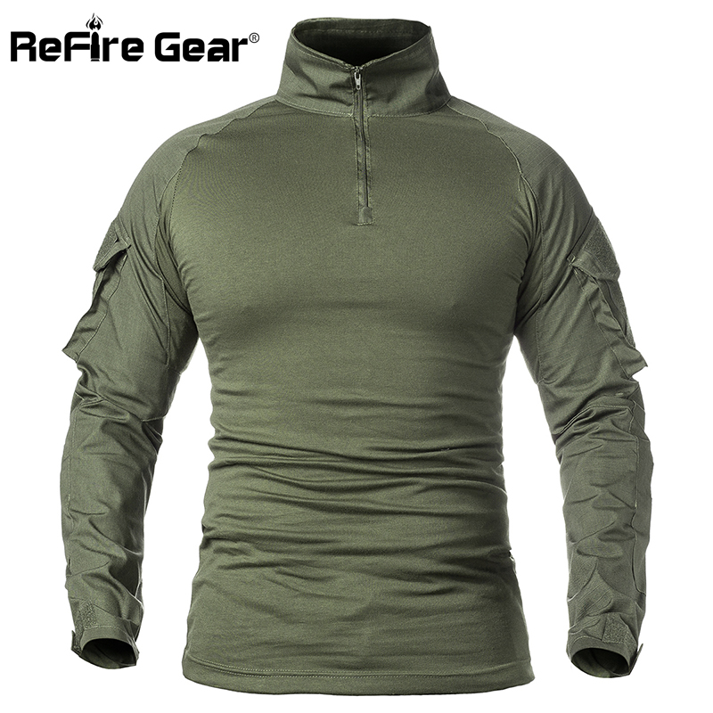 ReFire Gear Men Army Tactical T shirt SWAT Soldiers Military Combat T Shirt Long Sleeve Camouflage Shirts Paintball T Shirts 5XL|T-Shirts|   - AliExpress