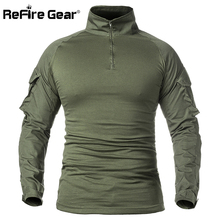 ReFire Gear Men Army Tactical T shirt SWAT Soldiers Military Combat T-Shirt Long Sleeve Camouflage Shirts Paintball T Shirts 5XL