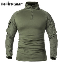 ReFire Gear Men Army Tactical T shirt SWAT Soldiers Military Combat T-Shirt Long Sleeve Camouflage Shirts Paintball T Shirts 5XL(China)