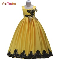 PaMaBa 3 14T Girls Deluxe Party Dresses Kids Summer Flower Princess Wedding Ball Gown With Bow