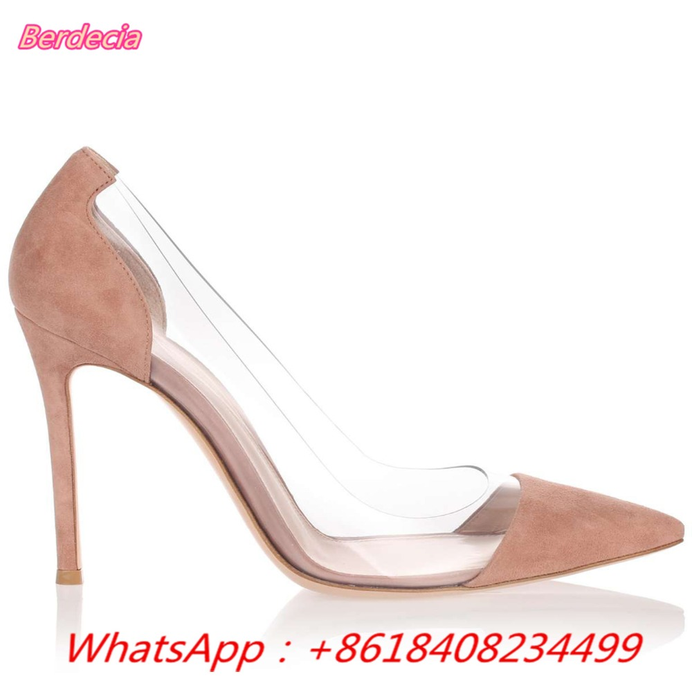 ФОТО Shallow OL Star Model Splice PVC Women Pumps Clear Sexy Pointed 10cm Thin Heels Sandals Spring Summer Women Pumps Zapato Mujer