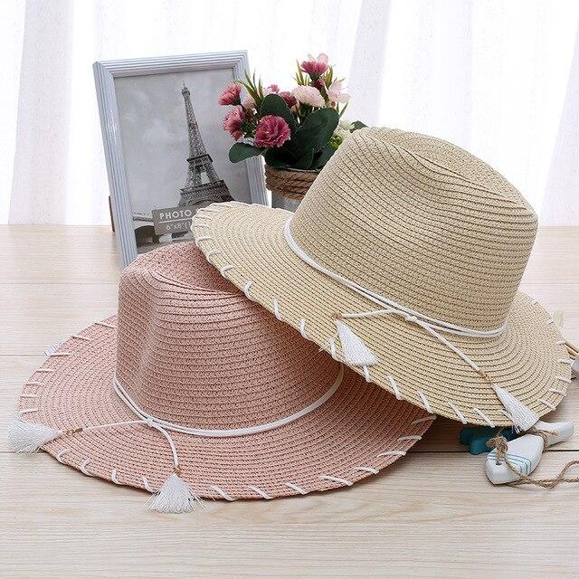 Estate Floscio Della Spiaggia Della Paglia Cappelli da Sole Donne Sunhats  Spiaggia Copricapi A Tesa Larga 02273991aa24