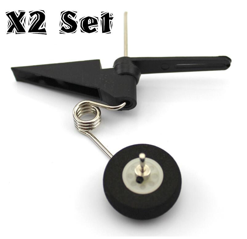 2 <font><b>Set</b></font> Replace Tail <font><b>Wheel</b></font> Assembly landing gear 60x25mm D28 /30 <font><b>RC</b></font> Airplane Parts Aeromodelling For Jet 540T Tires image
