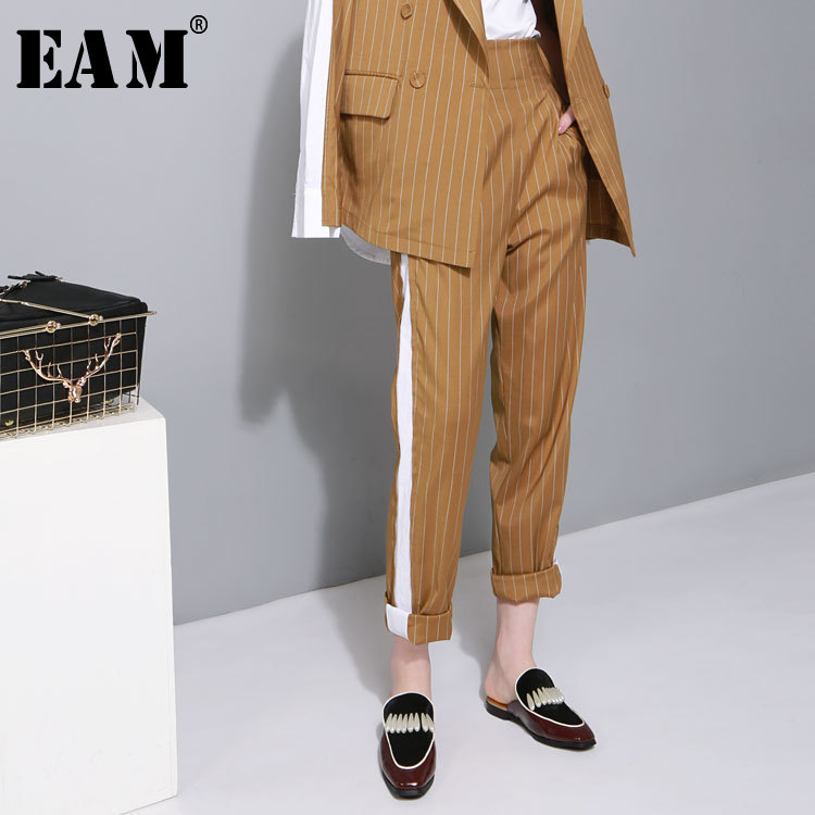 [EAM] 2019 New Spring High Elastic Waist Zipper Side Line Striped Split Joint Loose Long   Wide     Leg     Pants   Women Fashion Tide T4