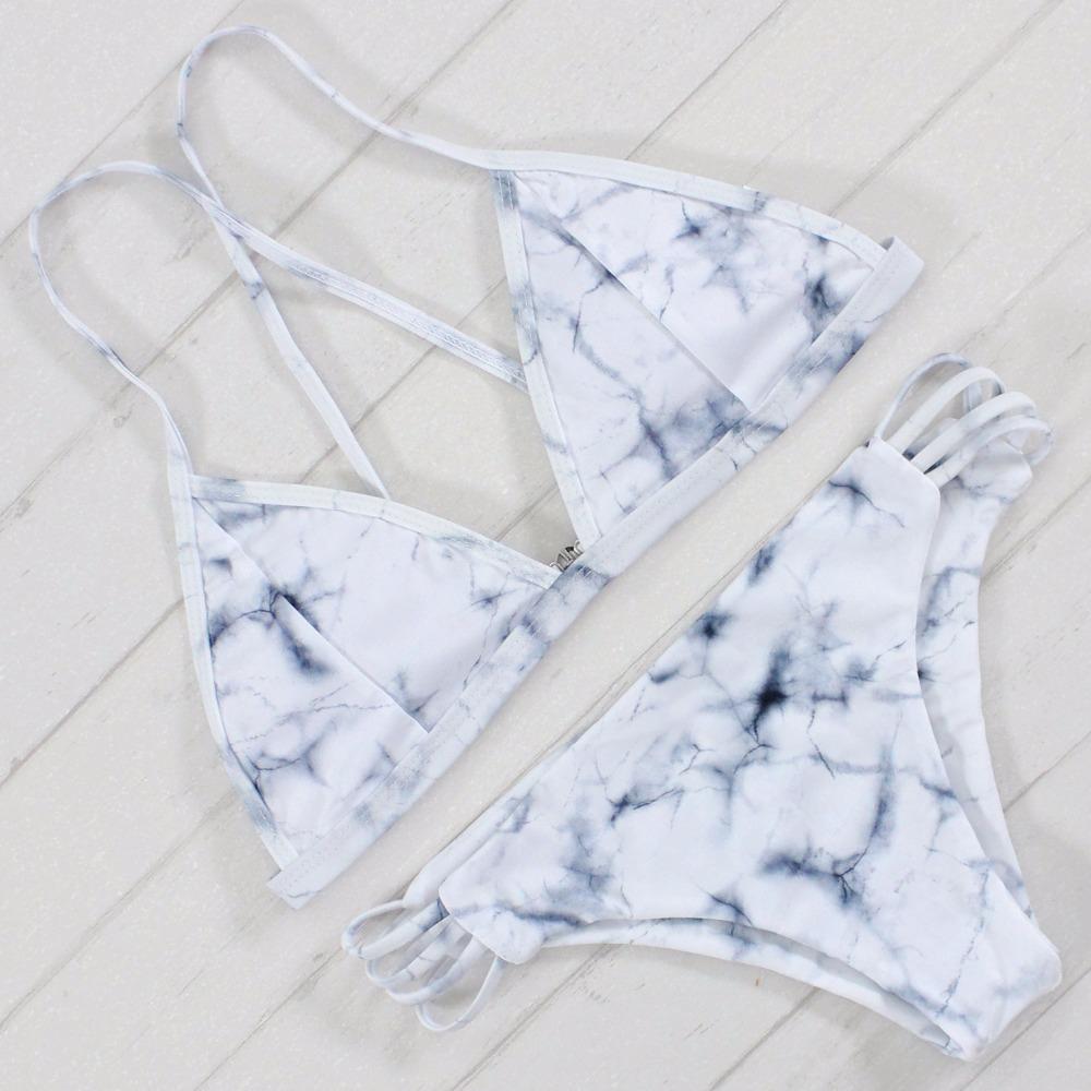 Sexy Bandeau Bikini Set Retro Drukuj Bandaż Strój Kąpielowy Bikini Brazylijskie Wyciąć Biquini Brasileiro Swimsuit Stroje Kąpielowe Stroje Kąpielowe 2017 Kobiet 3