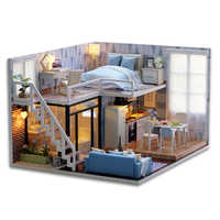 Casa de DIY para muñecas CUTEBEE, casas de muñecas de madera en miniatura, Kit de muebles de casa de muñecas con juguetes con luz LED para niños, regalo de Navidad L023