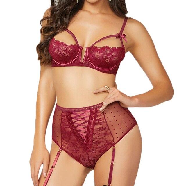 Open Bra Lace Sexy Lingerie Set Black Red Transparent Woman Sexy Set Erotic Bra+Garterbelt+High Waist Panty Sexy Costumes R80646 1