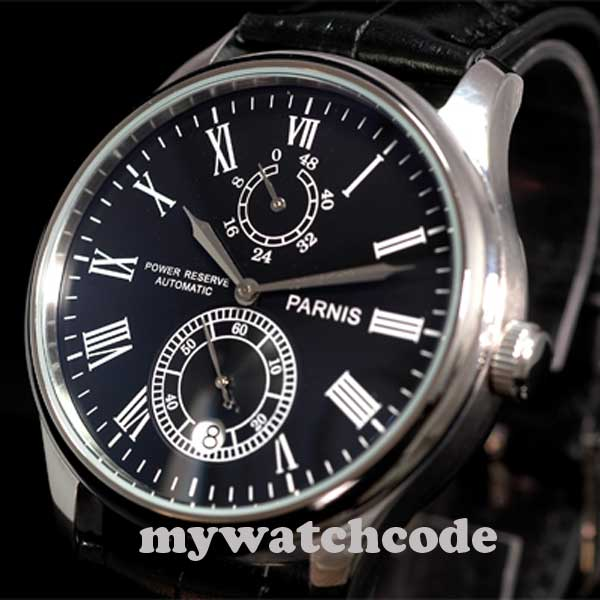 43mm parnis black dial Luxury datewindow power reserve automatic mens watch P198 цена и фото