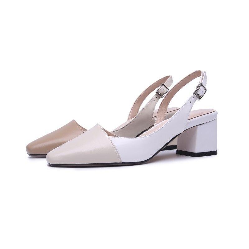 Kostenloser versand beige nude khaki schaffell matte farbe block karree dame frauen 3 cm große ferse komfortable sling sandale schuhe-in Damenpumps aus Schuhe bei  Gruppe 1