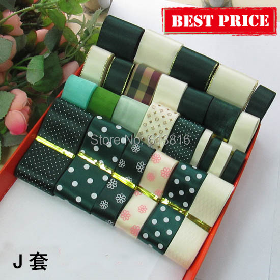 High Quality 27meters Mix Size Dark Green Satin Ribbon Set Grosgrain Ribbons Organza Diy Bows