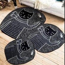 Gato preto dos desenhos animados carpet, 100*110 centímetros sala carpet, negro cor dos desenhos animados quarto tapete de chão, Pastoral decoração de casa tapete