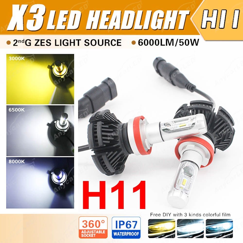 1 Set H8 H9 H11 50W 6000LM X3 LED Headlight LUMILED 2nd ZES Chips 12SMD Fanless