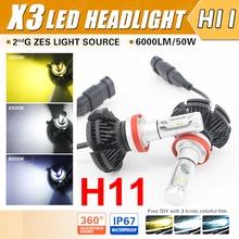 1 Conjunto H8 H9 H11 50 W X3 6000LM LED Farol LUMILED segunda ZES Chips 12SMD Fanless All-in-one DIY 3 K 6.5 K 8 K Filme Condução Nevoeiro lâmpadas