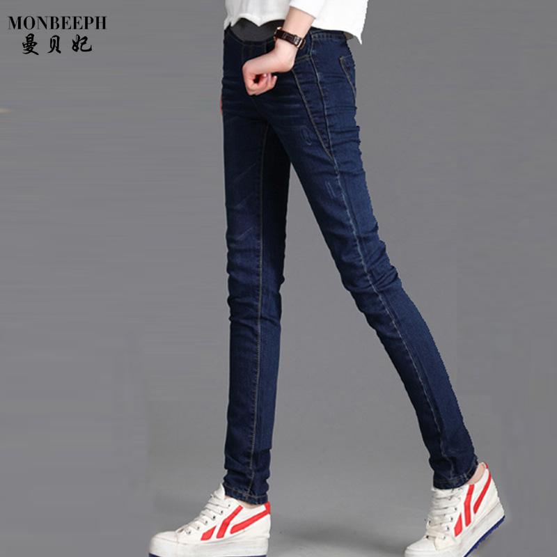 MONBEEPH new brand fashion denim pencil pants high elastic waist jeans female stretch pants women trousers 2017 new jeans women spring pants high waist thin slim elastic waist pencil pants fashion denim trousers 3 color plus size