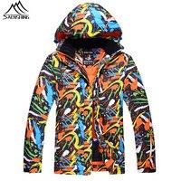 Saenshing Professional Winter Ski Jacket Men Waterproof Breathable Snow Jacket Ski Clothing Print Warm Skiing Snowboard