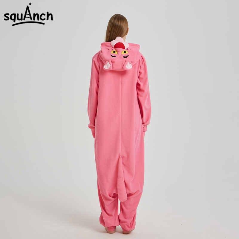 403fe6b78a06 ... Pink Animal Kigurumi Anime Panther Onesie Pajama Polar Fleece Jumpsuit  Funny Sleepwear Women Girl Festival Outfit ...