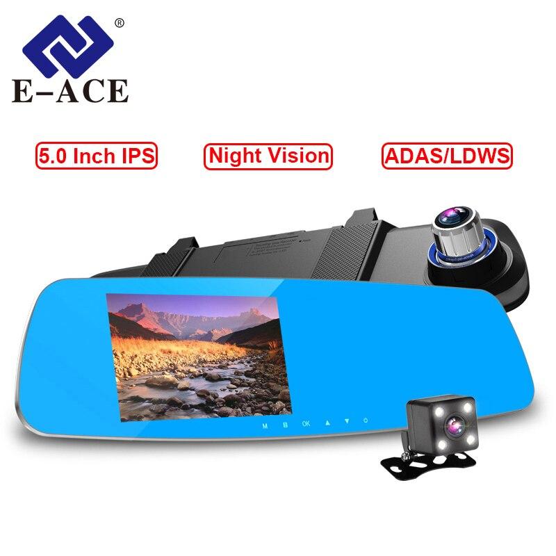 E-ACE Автомобильный Dvr FHD 1080P видео рекордер 5,0 дюймов зеркало заднего вида с DVR детектор Ночного Видения Регистратор Автомобильный dvr с двумя ка...