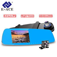 E ACE Car Dvr FHD 1080P Video Recorder 5.0 Inch rearview mirror with DVR detector Night Vision Registrar car dvr with two camera