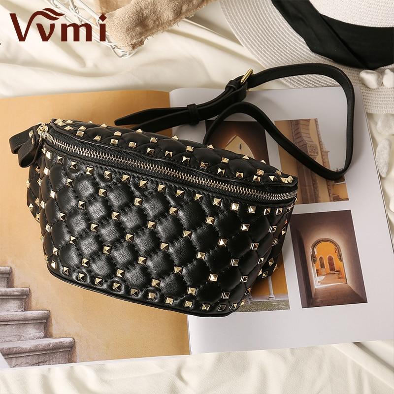 2018 new brand-name designer pocket female rivet pockets star with the belt bag