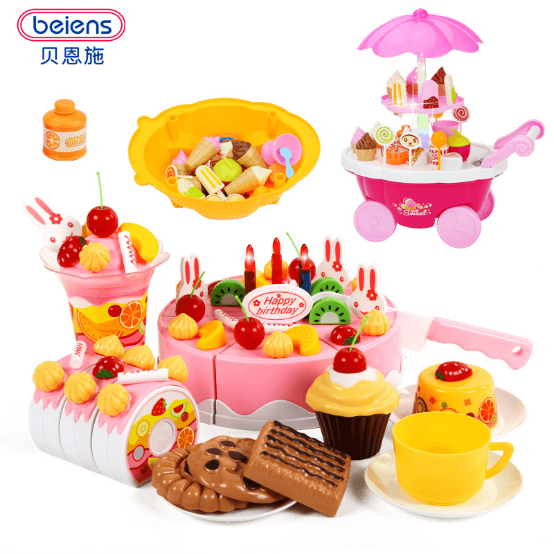 Beiens Brand Toys DIY Toys 38-75Pcs Pretend Play Cutting Birthday Cake Food Toy Kitchen For Children Plastic Play Food Tea Set