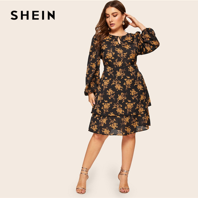 SHEIN Plus Size Multicolor Botanical Print Layered Button Ruffle Dress Women 2019 Spring Office Lady Knee Length Dress 2