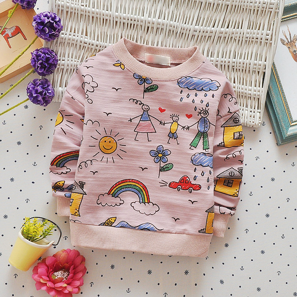 Babyinstar Kids T-shirts Cute Family Graffiti Boys T Shirt Long Sleeve Baby Girls Tops Tees 2017 Spring Autumn Children's Tees