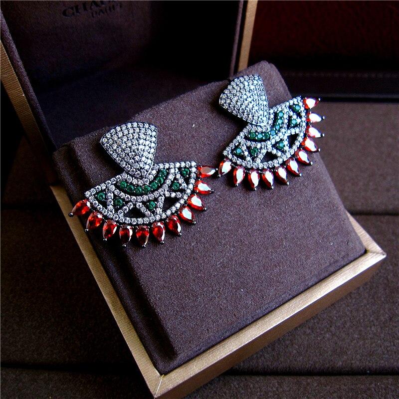 Thời trang AAA cubic zirconia đúp mảnh nhiều màu stones big stud bông tai, womens kết hợp, màu đen, H6053
