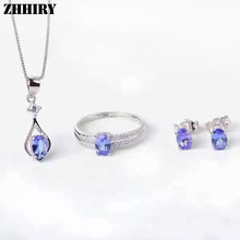 Women Natural Blue Tanzanite Gem stone Jewelry Sets Genuine 925 Sterling Silver Fine Ring Earrings Pendant Necklace ZHHIRY