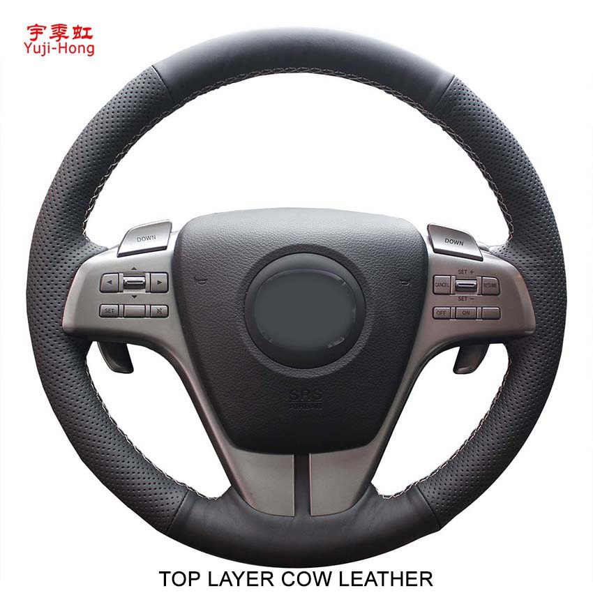 Yuji Hong Top Layer Genuine Cow Leather Car Steering Wheel Covers Case for Mazda 6 2009
