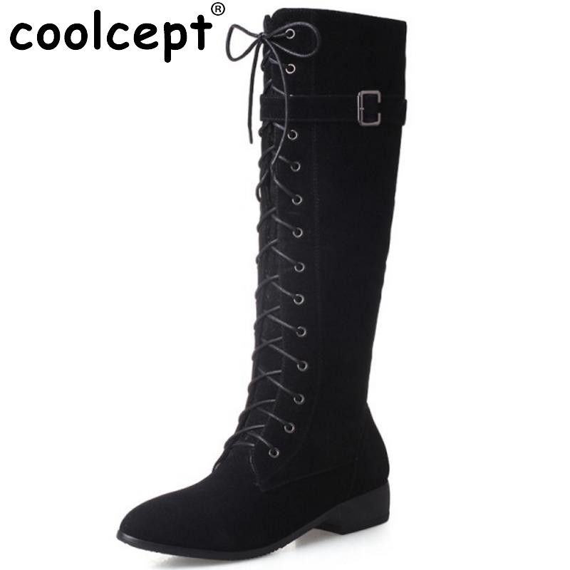 New Fashion Woman Round Toe Flat Knee Boots Women Stylish Lace Up Knight Boot Ladies Suede Leather Shoes Footwear Size 33-43 front lace up casual ankle boots autumn vintage brown new booties flat genuine leather suede shoes round toe fall female fashion
