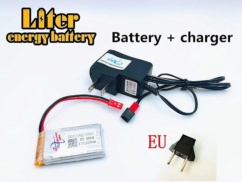 903048 3.7V 1300mAh RC Helicopter 1S Li-Po Battery For for JJRC H11D H11C MJX T04 T05 T25 M03 Lipo Battery + US EU  charger