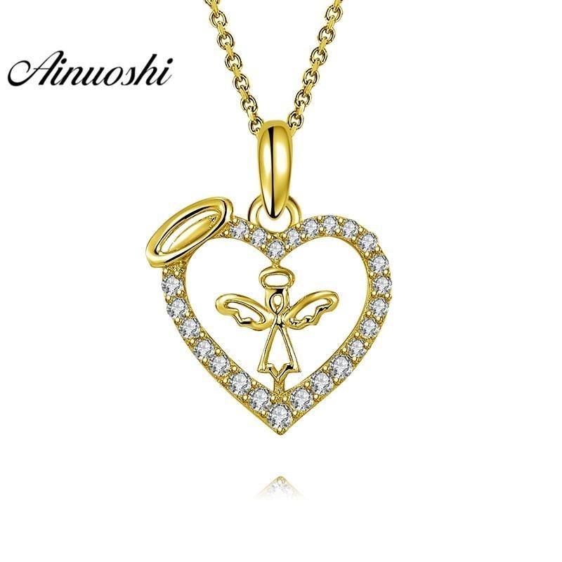 AINUOSHI 10K Solid Yellow Gold Pendant Hollow Heart Pendant SONA Diamond Women Men Jewelry Adorable Angel Separate Pendant 14k enamel heart angel pendant jewelryweb