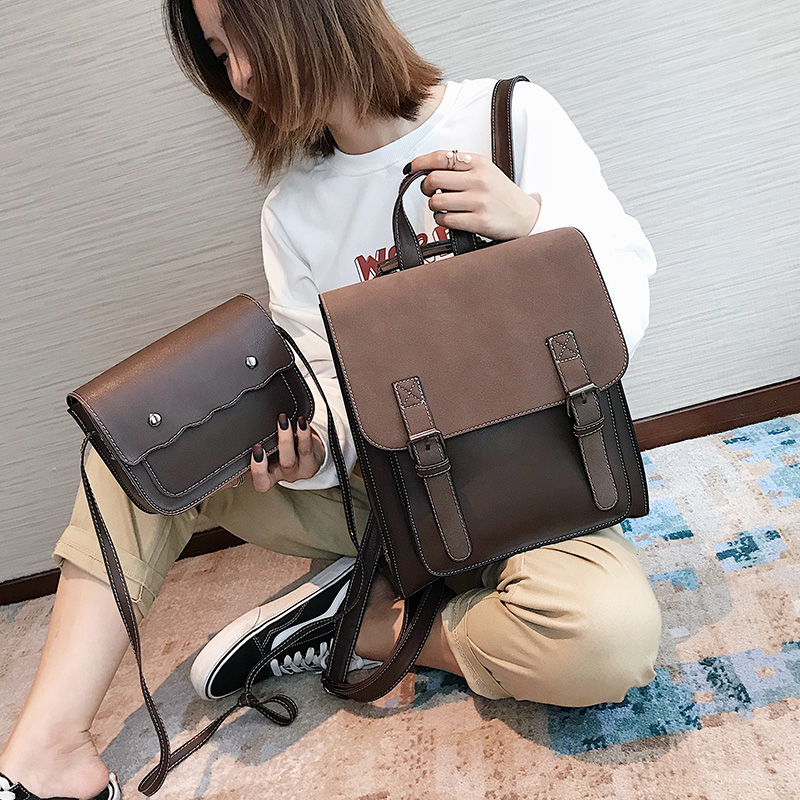 HTB1Q6lsXULrK1Rjy1zbq6AenFXaw Fashion 2 PCS/SET Leather Women Backpacks for Teenagers female Back Pack Large Capacity Pu Travelling Bags Vintage school bag