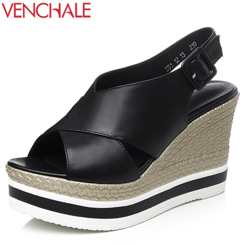 VENCHALE 2018 summer new fashion sandals  wedges platform women shoes height heel 10 cm buckle strap casual cow leather sandals woman fashion high heels sandals women genuine leather buckle summer shoes brand new wedges casual platform sandal gold silver